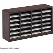 24 Compartment Wooden Literature Organizer - Mahogany