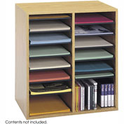 16 Compartment Adjustable Literature Organizer - Medium Oak