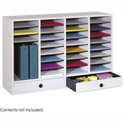 32 Compartment Adjustable Literature Organizer w/ Drawer - Gray