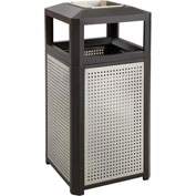 Evos™ Series Steel Garbage Can w/ Ash, 15 Gallon - 9933BL