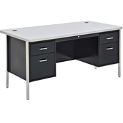 "Sandusky 60"" x 30"" Double Pedestal Teacher Steel Desk Black/Gray Nebula Top"
