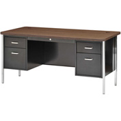 "Sandusky Double Pedestal Teacher Steel Desk - 60"" x 30"" - Black/Walnut Top"