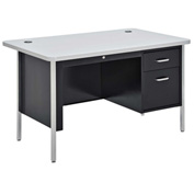 "Sandusky 48"" x 30"" Single Pedestal Teacher Steel Desk Black/Gray Nebula Top"