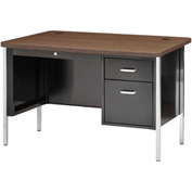 "Sandusky Single Pedestal Teacher Steel Desk - 48"" x 30"" - Black/Walnut Top"