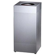 Rubbermaid® Silhouette SC14E Square Open Top Receptacle, 24 Gallon - Silver Metallic