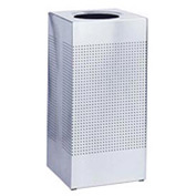 Rubbermaid® Silhouette SC14 Square Open Top Receptacle w/Liner, 16 Gallon - Stainless Steel