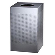 Rubbermaid® Silhouette SC18E Square Open Top Receptacle w/Liner, 29 Gallon - Silver Metallic