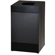 Rubbermaid® Silhouette SC18E Square Open Top Receptacle w/Plastic Liner, 29 Gallon - Black