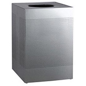 Rubbermaid® Silhouette SC22 Square Open Top Receptacle w/Liner, 40 Gallon - Stainless Steel