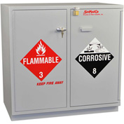 Acid (18x2.5 Liter)/Flammable (16x1 Gal.) Cabinet, Partially Lined, Self-Closing, 35 x 22 x 35-1/2