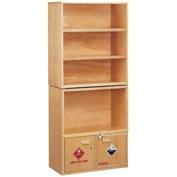 "Wooden Shelving Unit, with Combo Acid/Flammables Cabinet, 31""W x 16""D x 72-1/2""H"