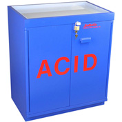 "30x2.5 Liter, Floor Corrosive Cabinet, Fully Lined, Top Tray, 31""W x 20""D x 36-5/8""H"