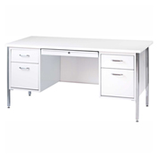 "Sandusky Teachers Desk - Double Pedestal - 60""W x 30""D - White/Arctic - 500 Series"
