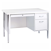 "Sandusky Teachers Desk - Single Right Pedestal - 45""W x 24""D - White/Arctic - 500 Series"