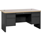 "Sandusky 700 Series Heavy Duty Teachers Desk, 60""Wx30""D, Black/Maple"