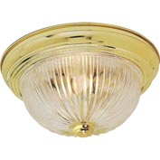 "Satco 76-091 2 Light - 11"" - Flush Mount - Clear Ribbed Glass  Polished Brass"