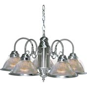 "Satco 76-444 5 Light - 22"" - Chandelier - With Clear Ribbed Shades  Brushed Nickel"