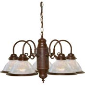 "Satco 76-445 5 Light - 22"" - Chandelier - With Clear Ribbed Shades  Old Bronze"