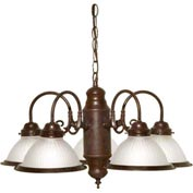 "Satco 76-694 5 Light - 22"" - Chandelier - With Frosted Ribbed Shades  Old Bronze"