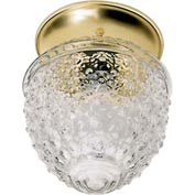 "Satco 77-125 1 Light - 6"" - Ceiling Fixture - Clear Pineapple Glass  Polished Brass"