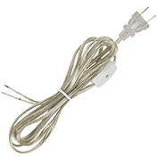 Satco 90-1585 8 Ft. SPT-1 Cord Set with Line Switch, Clear Silver