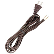 Satco 90-2045 8 Ft. Full Tinned Cord Set, 18/2 SPT-2-105-#176;C, Brown