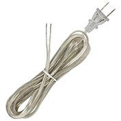 Satco 90-2046 8 Ft. Full Tinned Cord Set, 18/2 SPT-2-105-#176;C, Clear Silver