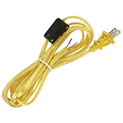 Satco 90-2309 8 Ft. Cord Set w/Hi-Low Switch - 18/2 SPT-2 105-#176; , Clear Gold