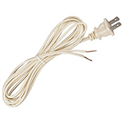 Satco 90-2418 8 Ft. Cord Set, 18/2 SPT-1, Ivory
