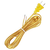 Satco 90-2463 10 Ft. Cord Set, 18/2 SPT-1, Clear Gold