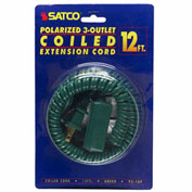 Satco 93-169 12 Ft. Coiled (Extended) Extension Cord, Green