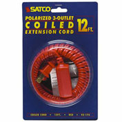Satco 93-174 12 Ft. Coiled (Extended) Extension Cord, Red