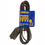Satco 93-195 9 Ft. Extension Cord 16/2 SPT-2, Brown