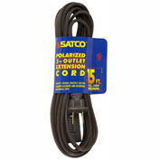 Satco 93-199 15 Ft. Extension Cord 16/2 SPT-2, Brown