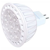 Satco S9106 7W MR16 LED 40' Beam Spread Miniature 2 Pin Round Base 5000K 12V