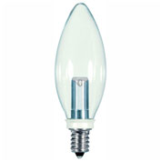 Satco S9152 1W LED Decorative Torpedo Bulb Candelabra Base Clear 2700K
