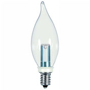 Satco S9153 1W LED Decoerative Turn Tip Bulb Candelabra Base Clear 2700K