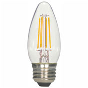 Satco S9569 4.5W C11 LED Filament Torpedo Medium Base Clear 2700K