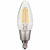 Satco S9570 4.5W C11 Filament LED Torpedo Candelabra Base Clear 2700K