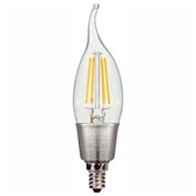 Satco S9574 4.5W C11 LED Filament Turn Tip Candelabra Base Clear 2700K