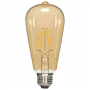 Satco S9578 4.5W ST19 Filament LED Medium Base Transparent Amber 2300K