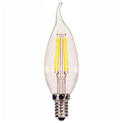 Satco S9823 4W CA11 Filalment LED Turn Tip Candelabra Base Clear 2700K