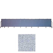 "Screenflex 13 Panel Portable Room Divider, 4'H x 24'1""L, Vinyl Color: Blue Tide"