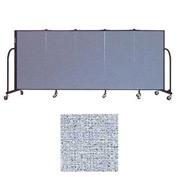 "Screenflex 5 Panel Portable Room Divider, 4'H x 9'5""L, Vinyl Color: Blue Tide"