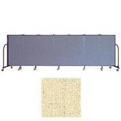 "Screenflex 7 Panel Portable Room Divider, 4'H x 13'1""L Vinyl Color: Hazelnut"