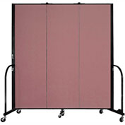 "Screenflex 3 Panel Portable Room Divider, 6'H x 5'9""L, Fabric Color: Mauve"