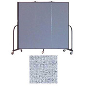 "Screenflex 3 Panel Portable Room Divider, 6'H x 5'9""L, Vinyl Color: Blue Tide"