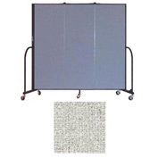 "Screenflex 3 Panel Portable Room Divider, 6'H x 5'9""L, Vinyl Color: Granite"