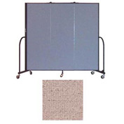 "Screenflex 3 Panel Portable Room Divider, 6'H x 5'9""L, Vinyl Color: Raspberry Mist"