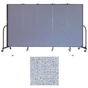 "Screenflex 5 Panel Portable Room Divider, 6'H x 9'5""L, Vinyl Color: Blue Tide"